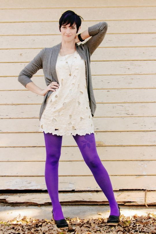 white dress, purple tights | style me | Pinterest | Purple ...