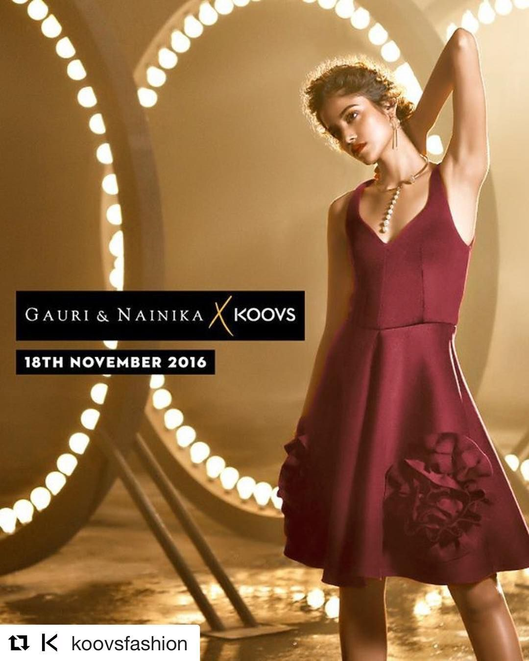 Tj Bhanu @tj_bhanu for @koovsfashion #Repost @koovsfashion with @repostapp  We are thrilled to announce our collaboration with designer duo @GauriAndNainika for the ultimate dress collection - #GauriNainikaXKOOVS!  Collection launches 18th November at KOOVS.COM Girls are you ready?  #gauriandnainika #designer #collaboration #dresses #gowns #redcarpet #glam #fashion #style #party #shopping #KOOVS