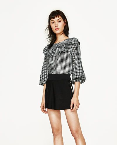 FRILLED GINGHAM TOP-Blouses-TOPS-WOMAN   ZARA United States   From ... 1adea2ee260