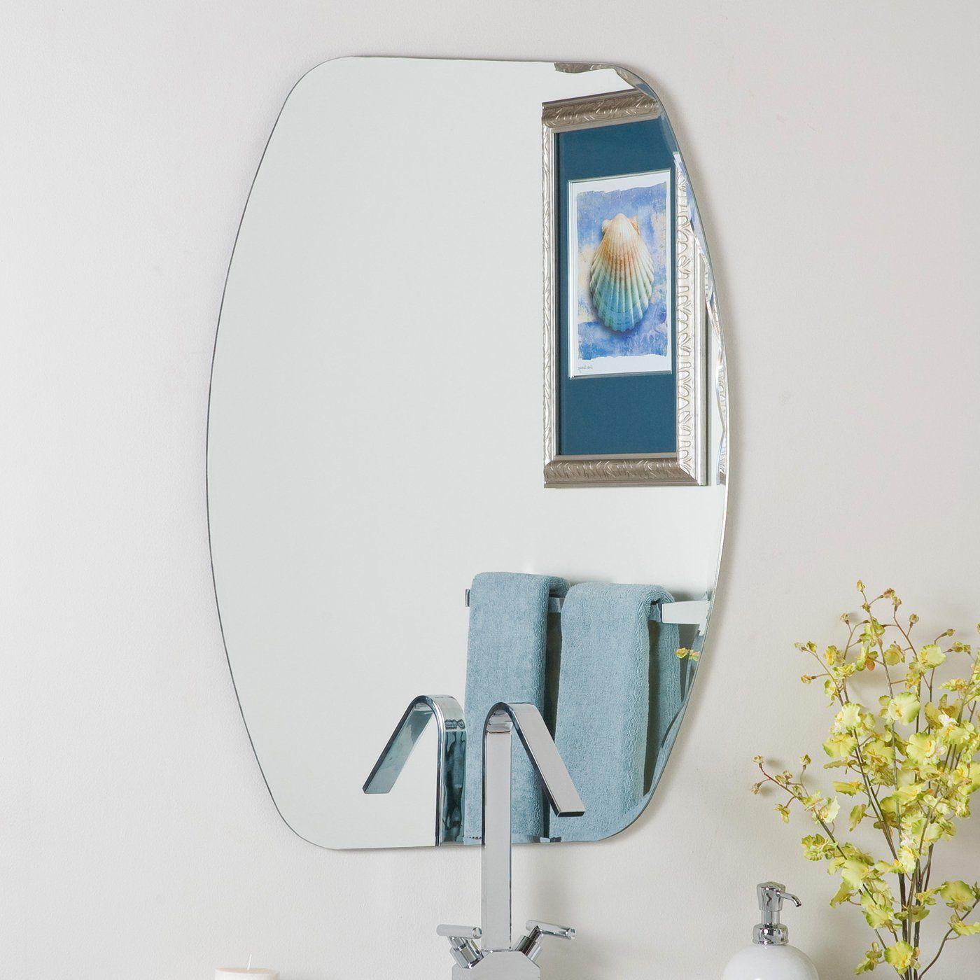 decor wonderland ssm308 frameless oval beveled mirror | lowe's