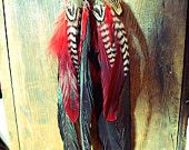 Handmade Large Red Dream Catcher Feather Necklace, Long Horn, Leather Tribal Necklace, Bohemian, Hippie, Statement Feather Necklace, Aztec. $45.00, via Etsy.