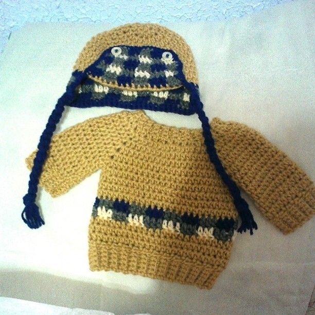 Crochet Aviator Baby Boys Hat And Sweater Hat Is A Free Pattern