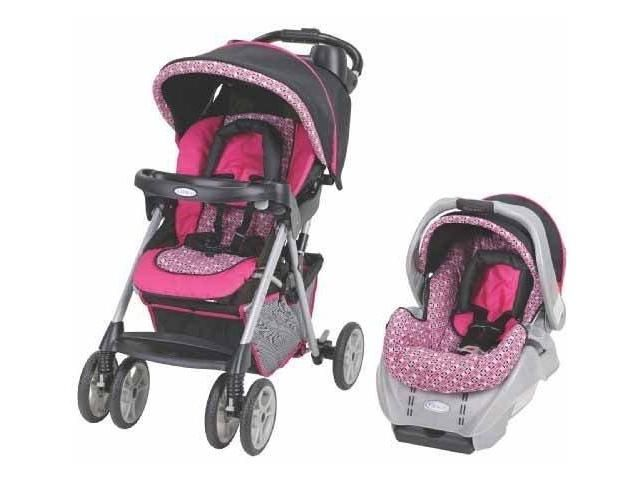 Www Yourbabynow Com Light Pink And Dark Pink Stroller And Car Seat