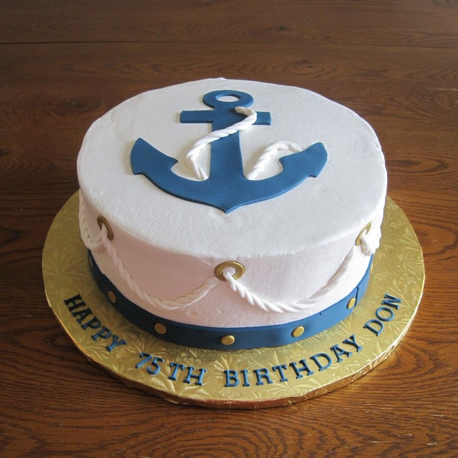 Superb Nautical Anchor Cake Anchor Cakes Boat Cake Nautical Cake Funny Birthday Cards Online Alyptdamsfinfo