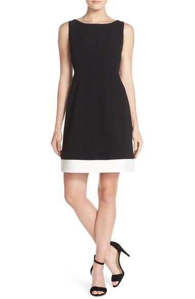 Vince Camuto Sleeveless Two Tone Fit & Flare Crepe Dress available at #Nordstrom