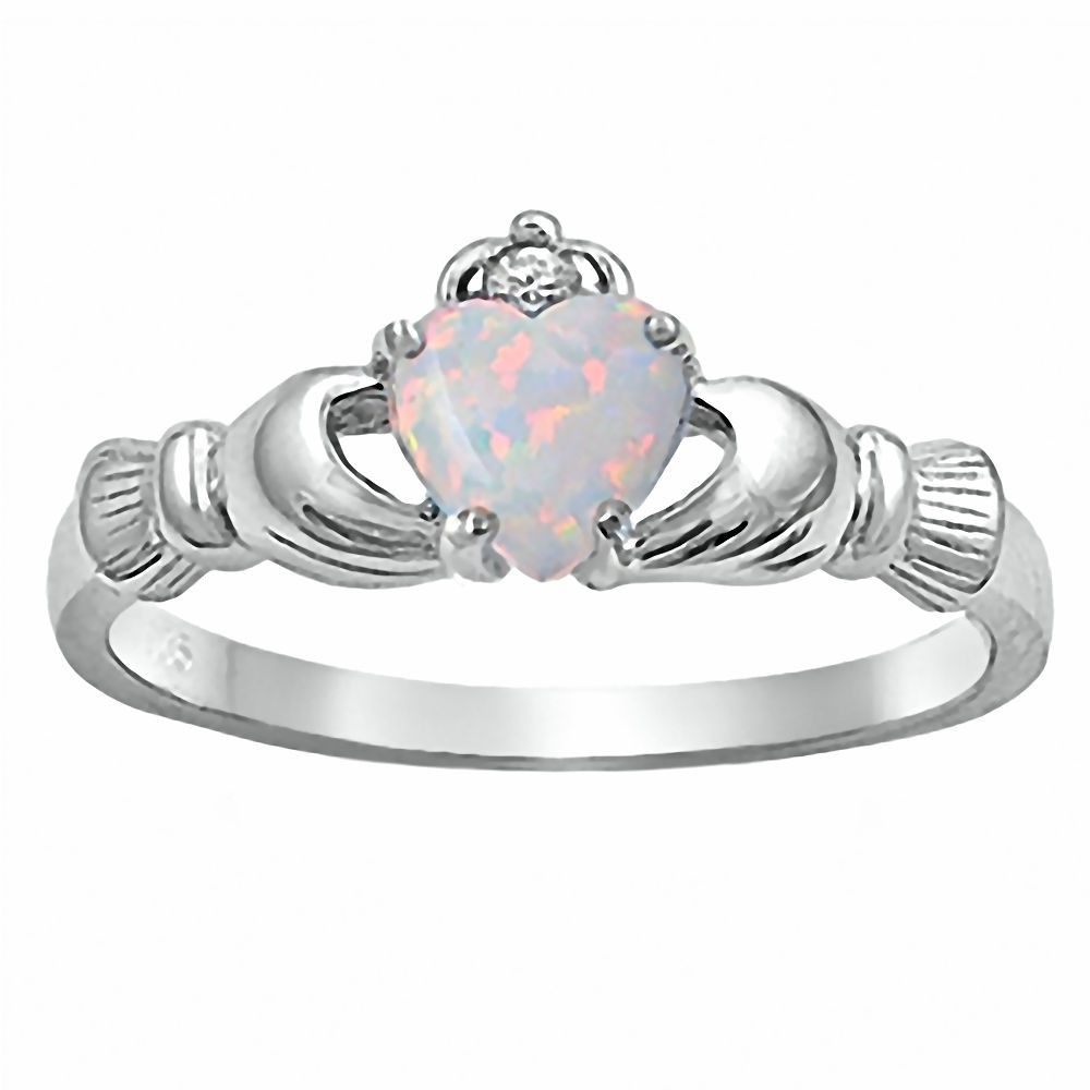 Sterling Silver 0.765ct Heart-cut Synthetic White Opal Claddagh Ring Fidelity