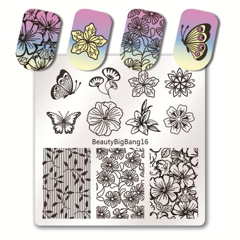 1 Stuck 6 6 Cm Quadrat Nail Stamping Platten Lace Flower Nail Art Briefmarken Blumen Teller Platz Spitze Nagel Blumen Blumen Nail Art Viereckige Nagel