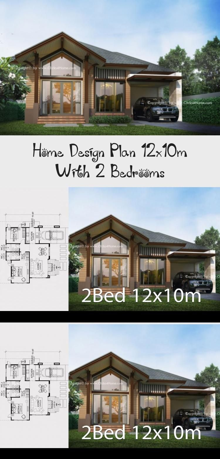 Home Design Plan 12x10m With 2 Bedrooms Home Design With Plansearch Smallhouseplans1400sqft Smallhouseplansu In 2020 Home Design Plan House Design Pool House Plans