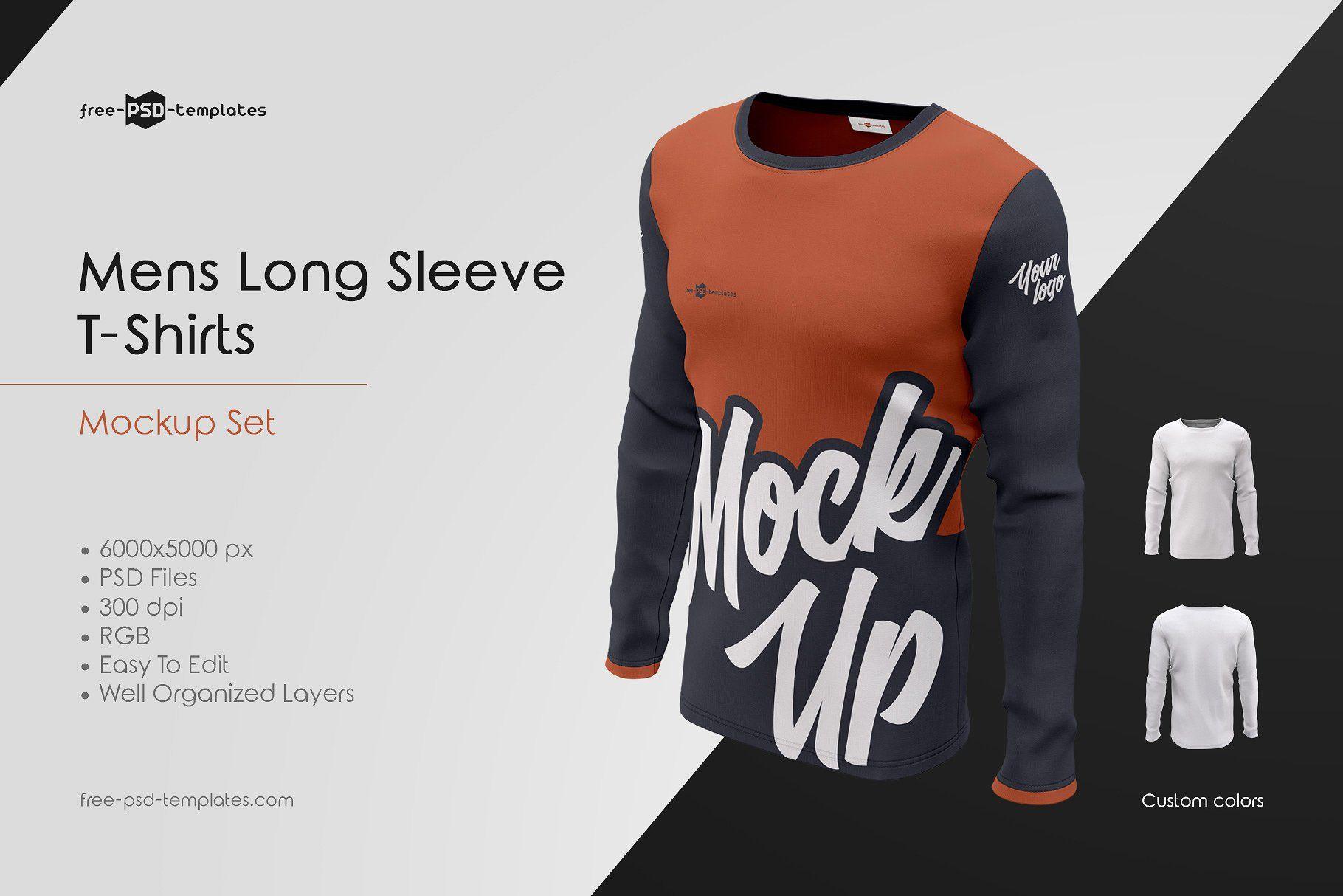 Mens Long Sleeve T Shirts Mockup Set Shirt Mockup Men S Long Sleeve T Shirt Long Sleeve Tshirt Long sleeve shirt template psd