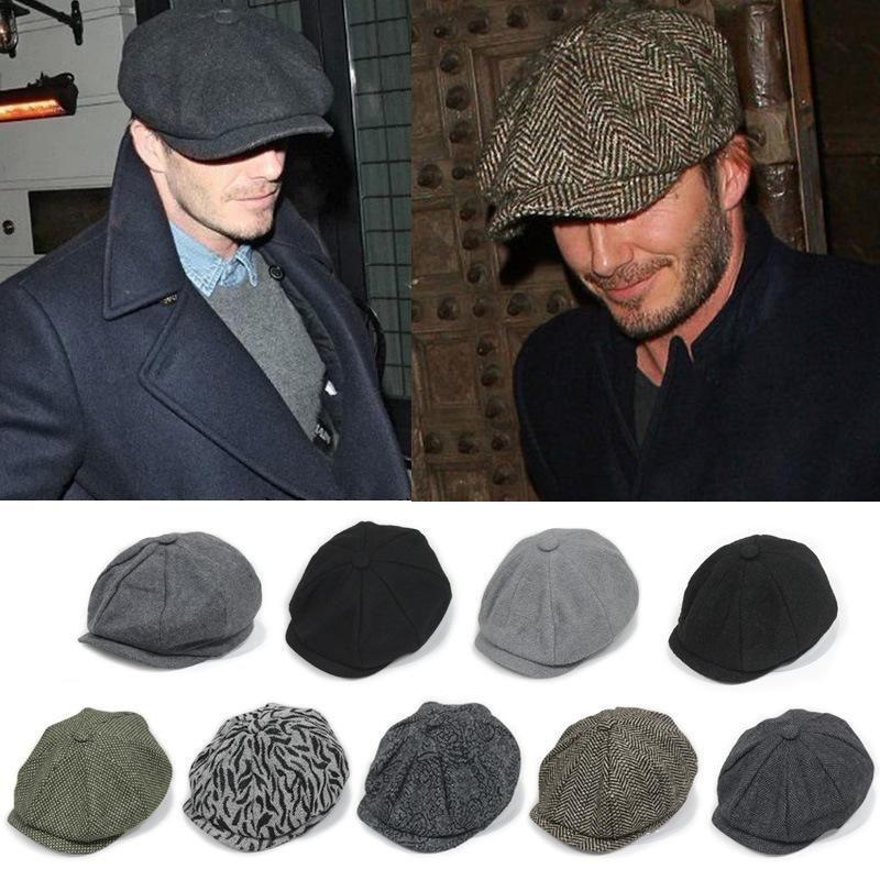 Black Newsboy Caps Men Wool Vintage Caps Male Classic Grey Flat Caps Adjustable Autumn Winter Warm Caps