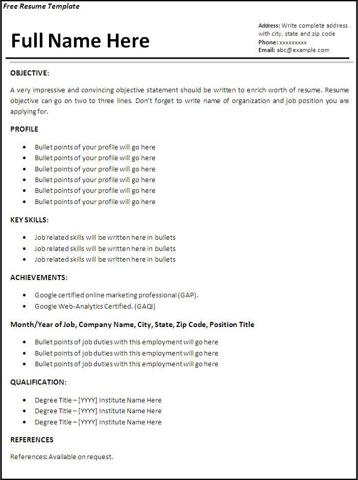 resume templates job resume template free word templates - Resume Format With Work Experience