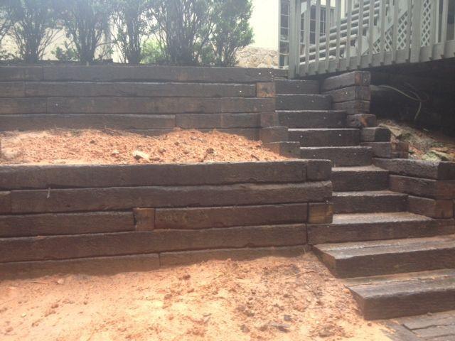 Railroad Tie Retaining Wall Construction Sleeper Steps