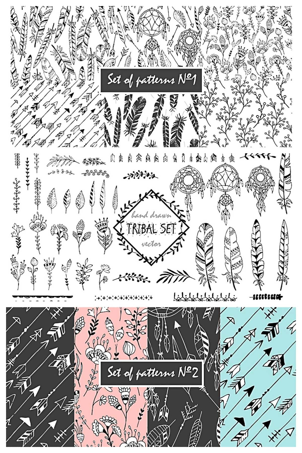 Tribal elements wreaths arrows and patterns (With images