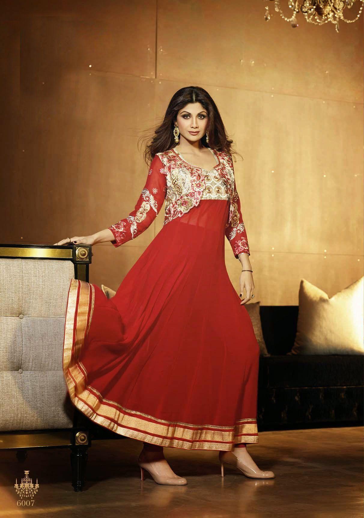 Gorgeous long royal red anarkali by shilpa shetty products