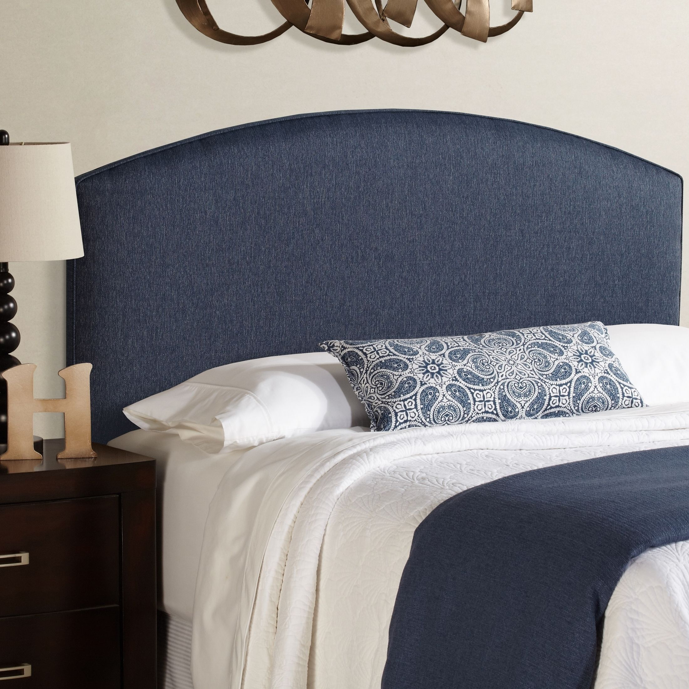 This King Size Upholstered Headboard Is Adjule To Accommodate A Wide Range Of Mattress Heights Beautiful Shades Blue Come Together On Highly