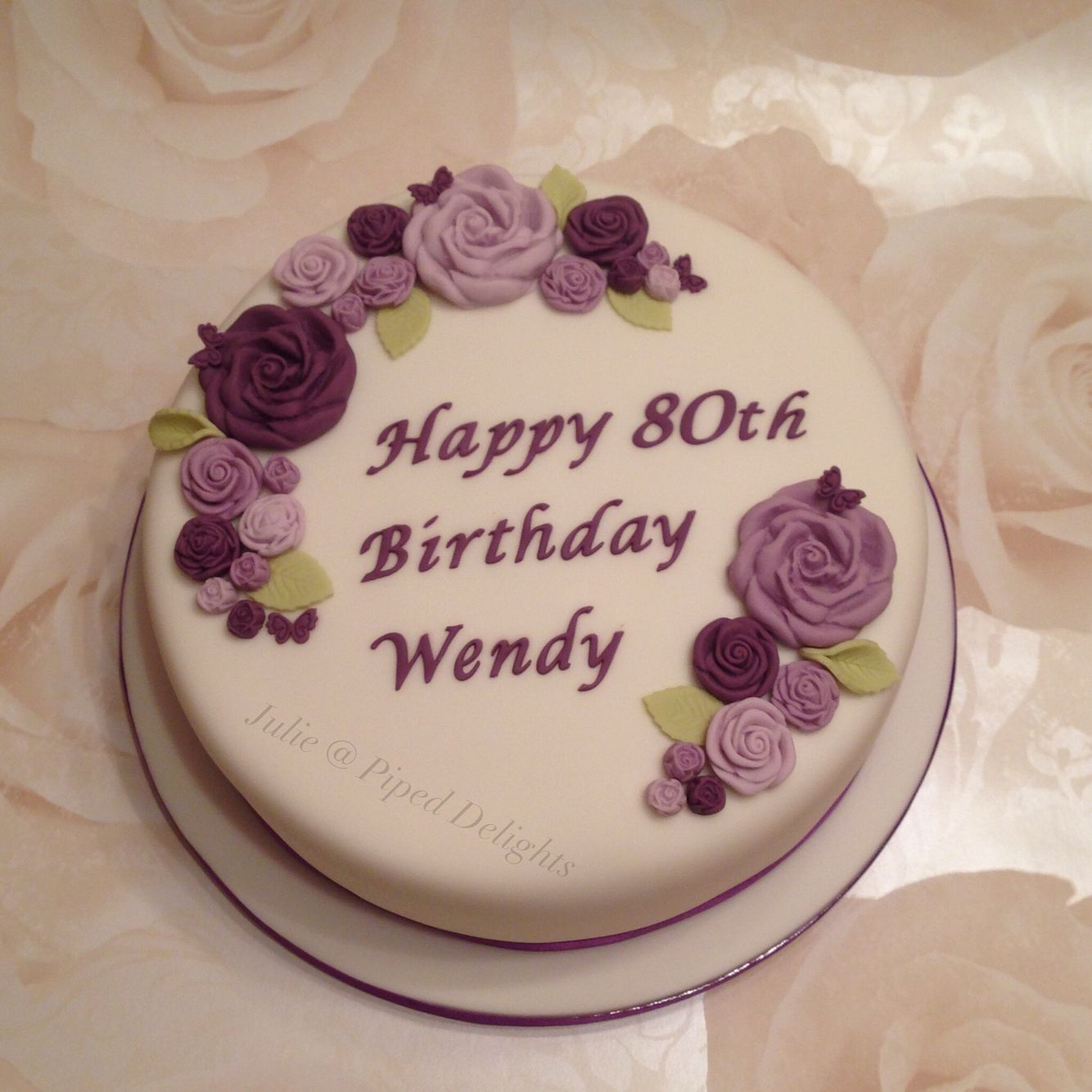 Ladies 80th Birthday Cake By Julie Piped Delights With Purple