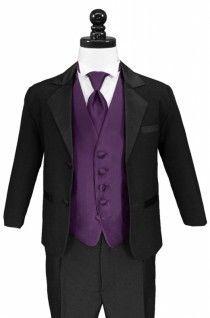 Black Tux W Purple Tie Vest And White Shirt