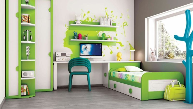 Bilder Kinderzimmer Junge Grüne Kindermöbel