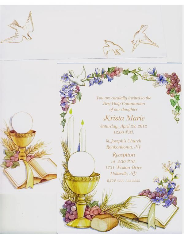 Floral Chalice Invitation Products I Love Pinterest – Invitation Cards for First Holy Communion