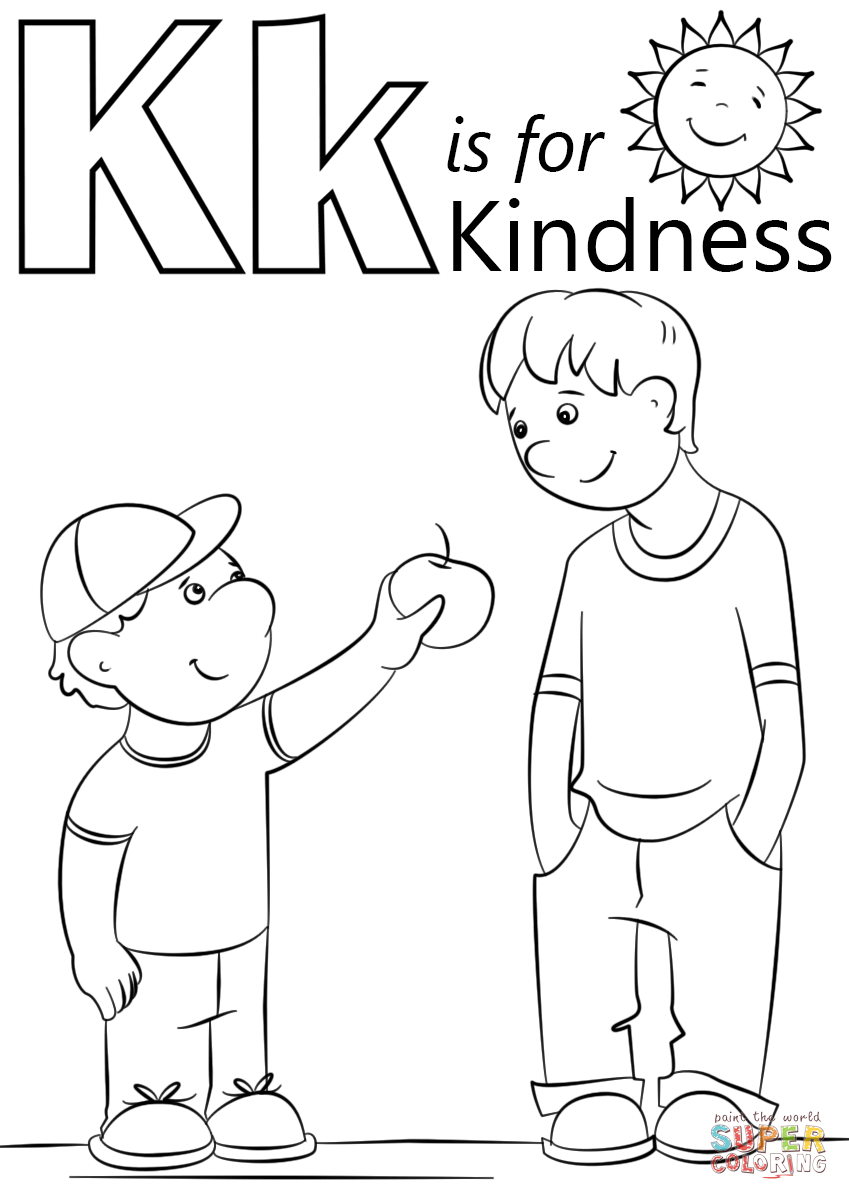 letter k is for kindness coloring page free printable