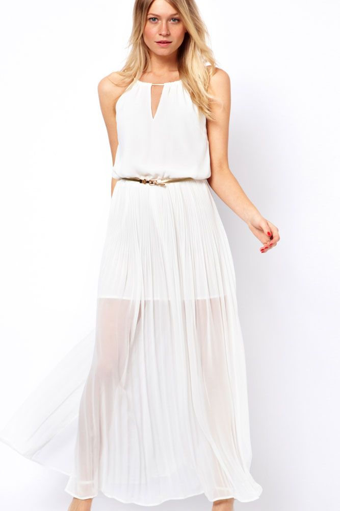 Sleeveless Gold Belted White Chiffon Maxi Dress With Long Mesh ...