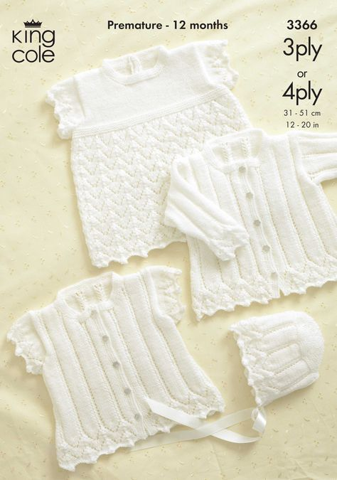 Baby Cardigan & Bonnet Knitting Pattern - 3366 - King Cole ...