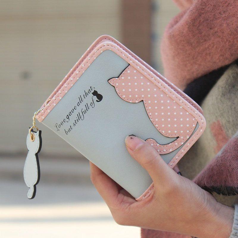 Fashion Women Cute Cat Pattern Coin Purse Short Wallet Card Holders Handbag