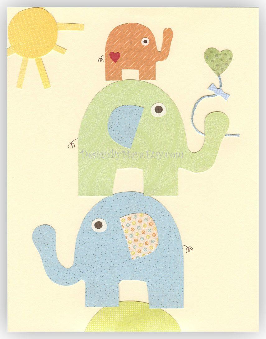 Nursery Wall Art Print bay room elephant..Trio (elephants), pastel ...