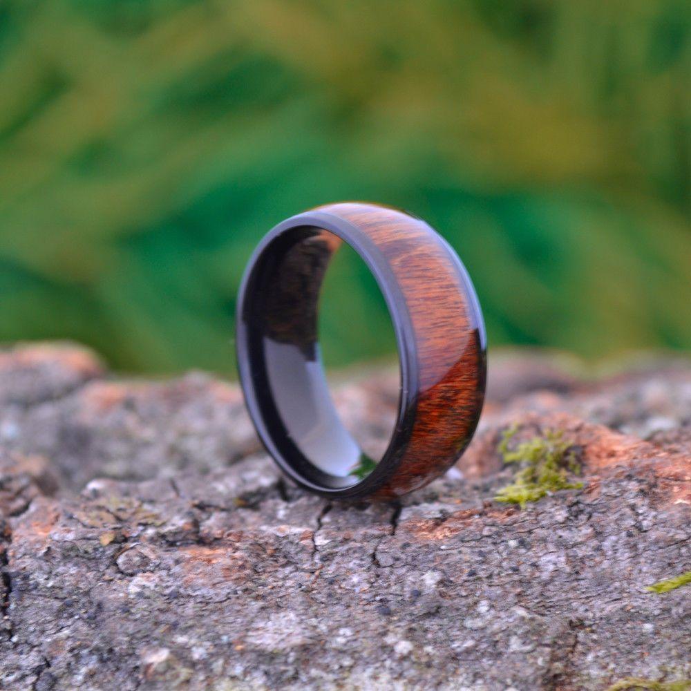 8MM Black Titanium Wedding Band with Wood Inlay size 9