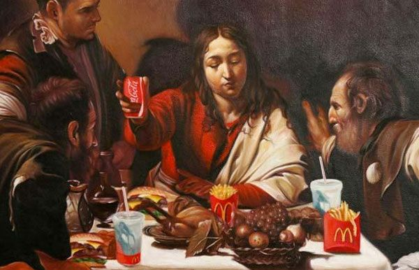 Supper at Emmaus, by Mason Storm, an adaptation of the 1601 Caravaggio masterpiece