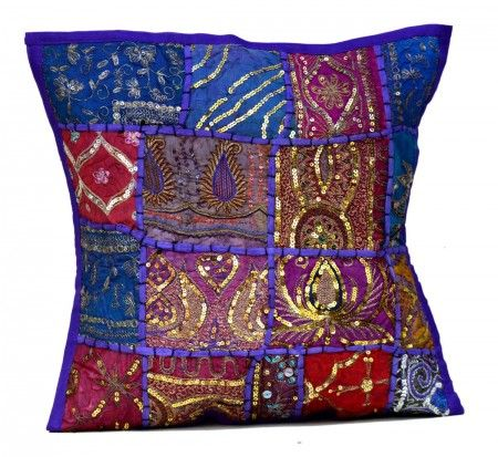 Buy 1pc Purple Embroidery Sequin Patchwork Indian Sari Throw