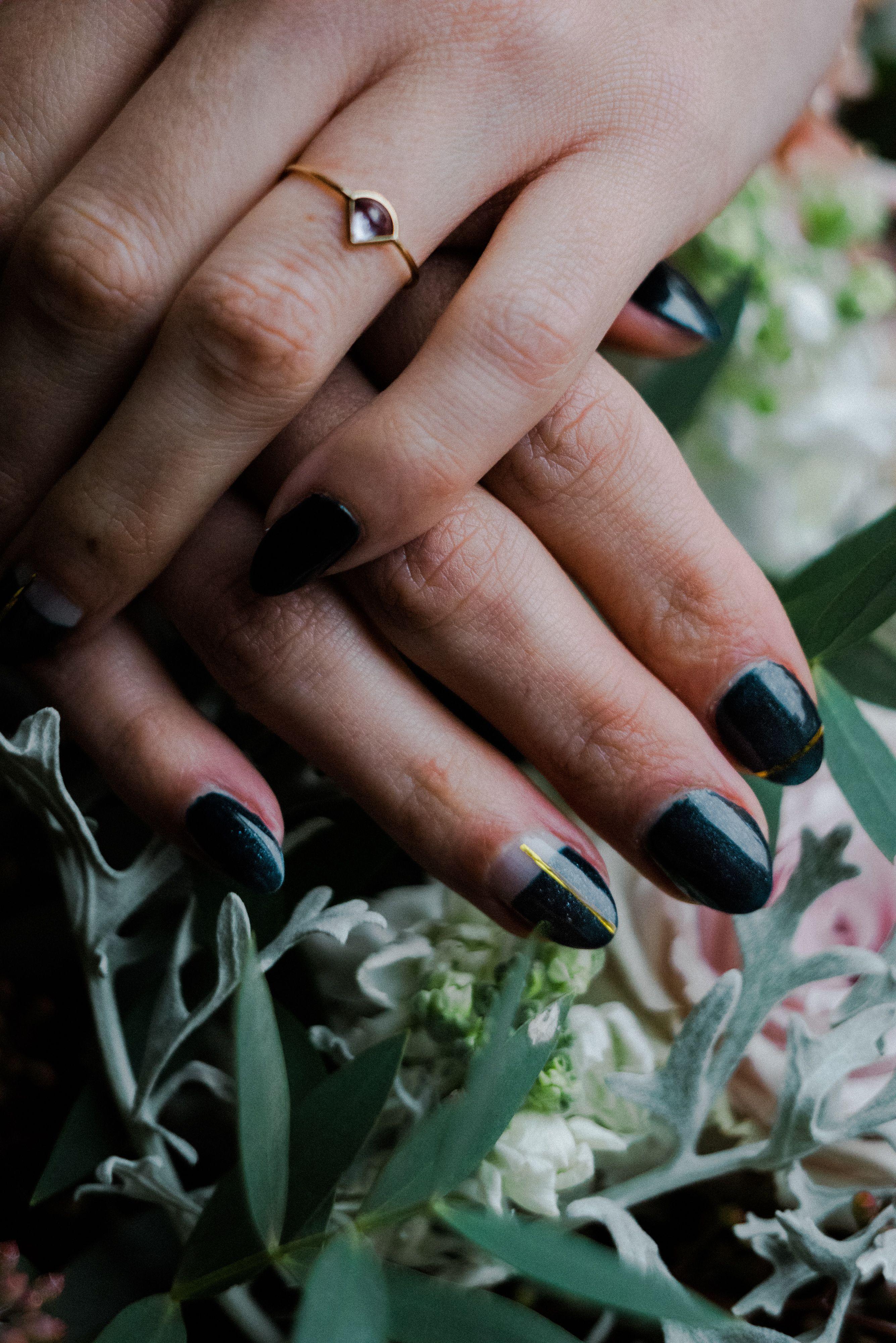 Moody Romantic and Celestial Navy and Gold Bridal Nails Nails ...