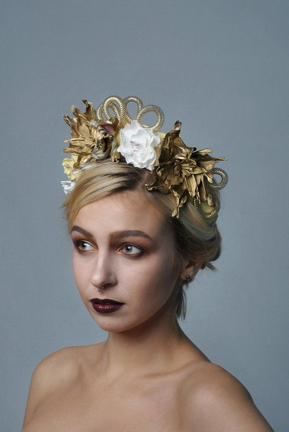 1e0cb511b5c Gold flowers crown Golden fashion wedding hair accessories Bridal headpiece  Festival headband golden