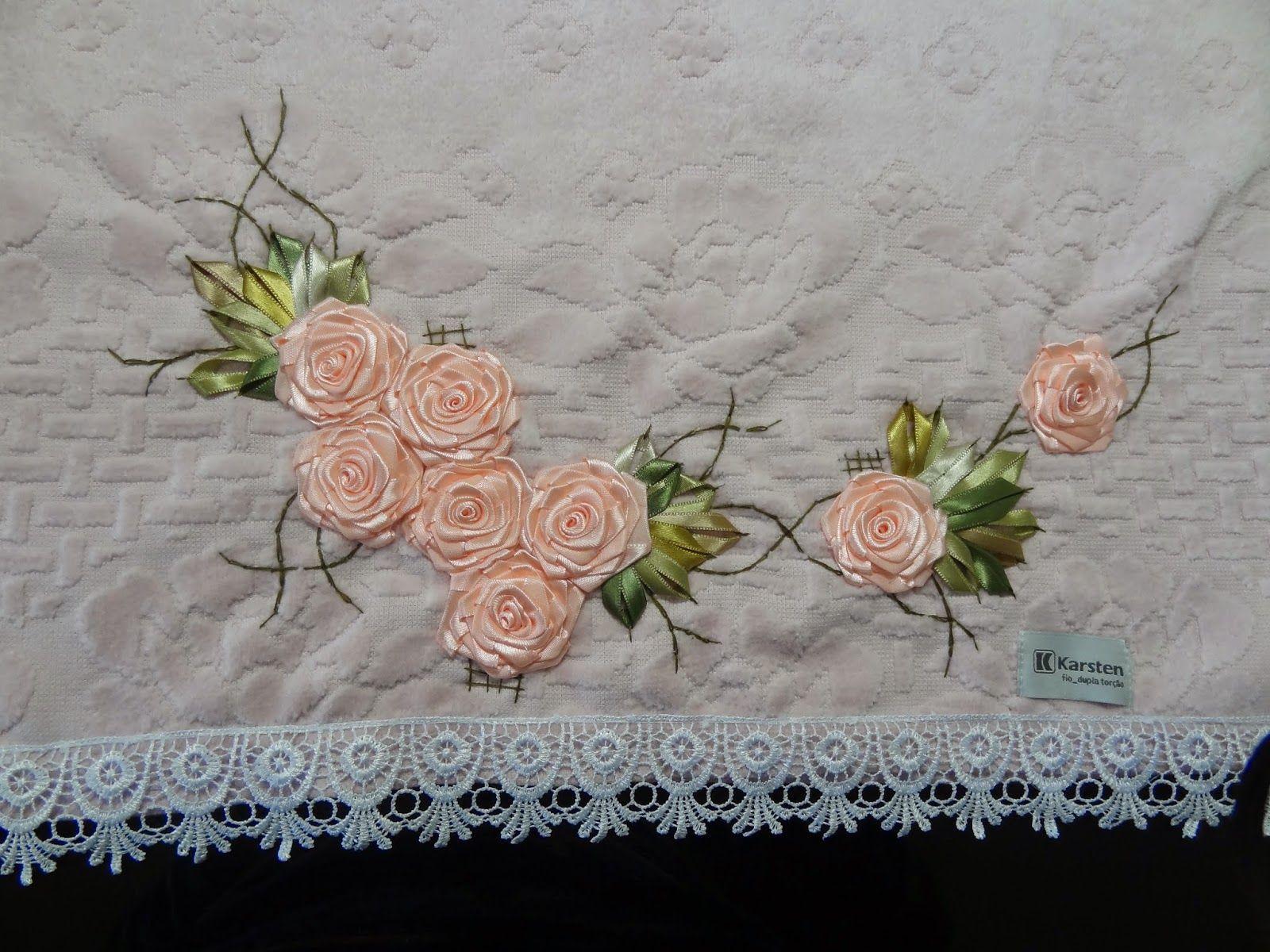 LOY HANDCRAFTS, TOWELS EMBROYDERED WITH SATIN RIBBON ROSES: TOALHA DE ROSTO - KARSTEN
