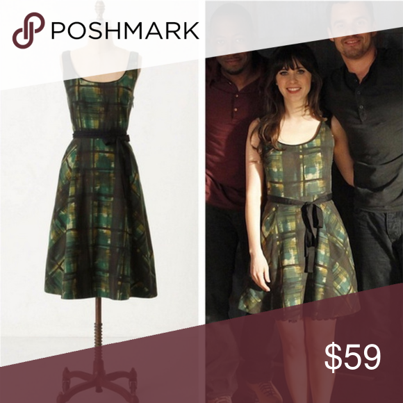 be5dacb3ffc4 Anthropologie Maeve Painted Plaid Dress Anthropologie Maeve dress. Green,  yellow, black. Painted