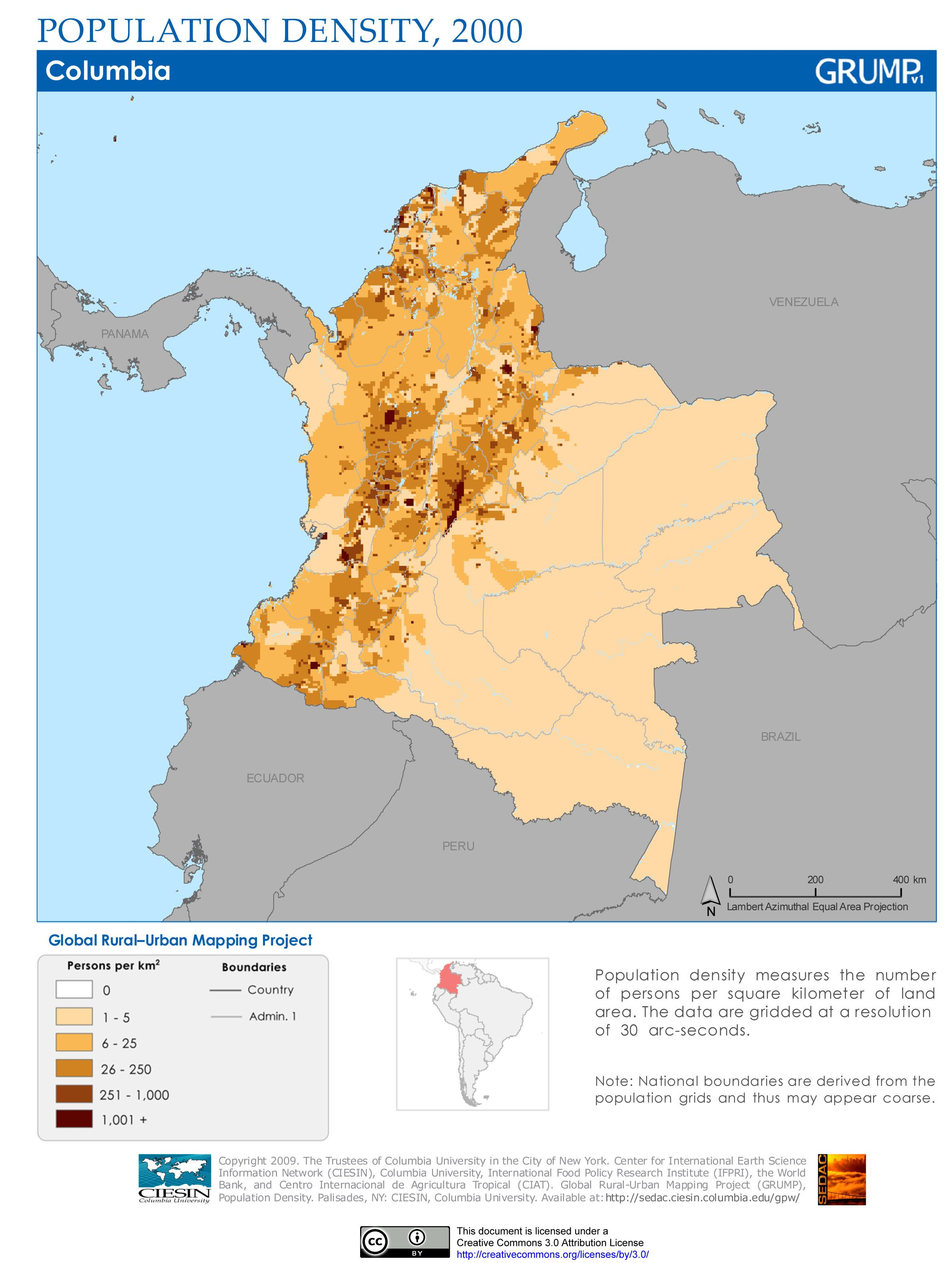 Colombia population density | Maps | Colombia population