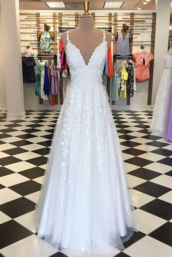 White tulle vneck long lace appliques aline evening dress formal dress  wedding dressaline