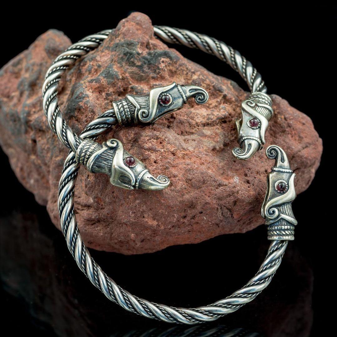Silver Huginn & Muninn Arm Ring Viking jewelry