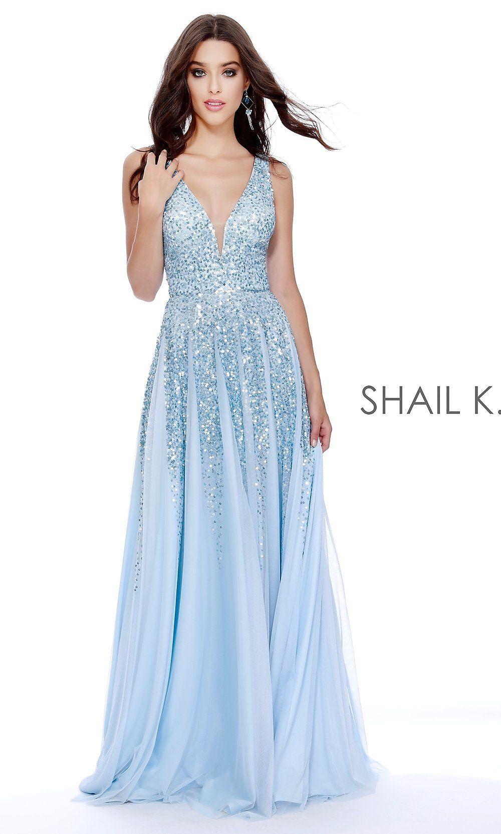 1e6a904772c Shail K A-Line Long V-Neck Prom Dress - PromGirl