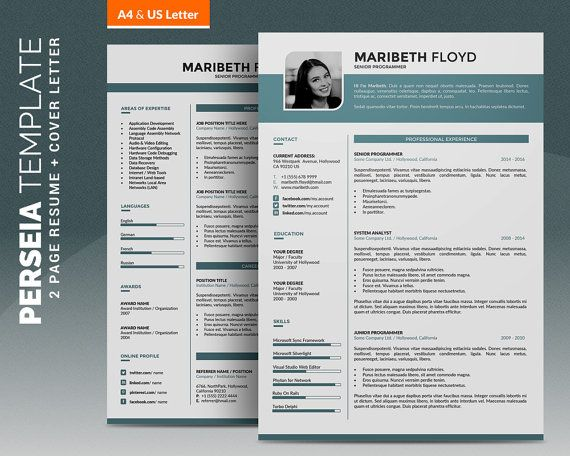 Resume Template / Cv Template, 2 Pages Word Cv Design+ Cover