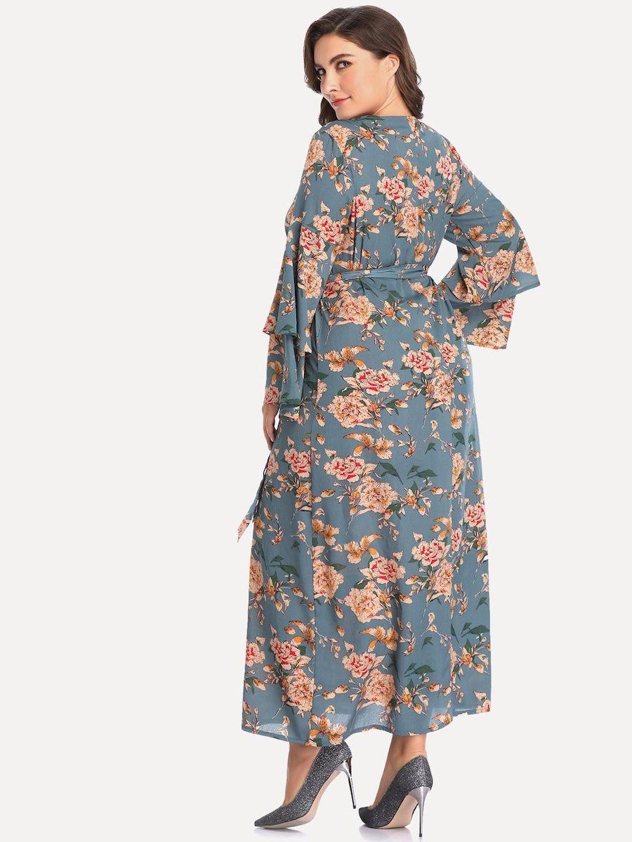 694da32fcc8c54 Plus Floral Print Self Tie Waist Dress Neckline: Round Neck Sleeve Length:  Long Sleeve