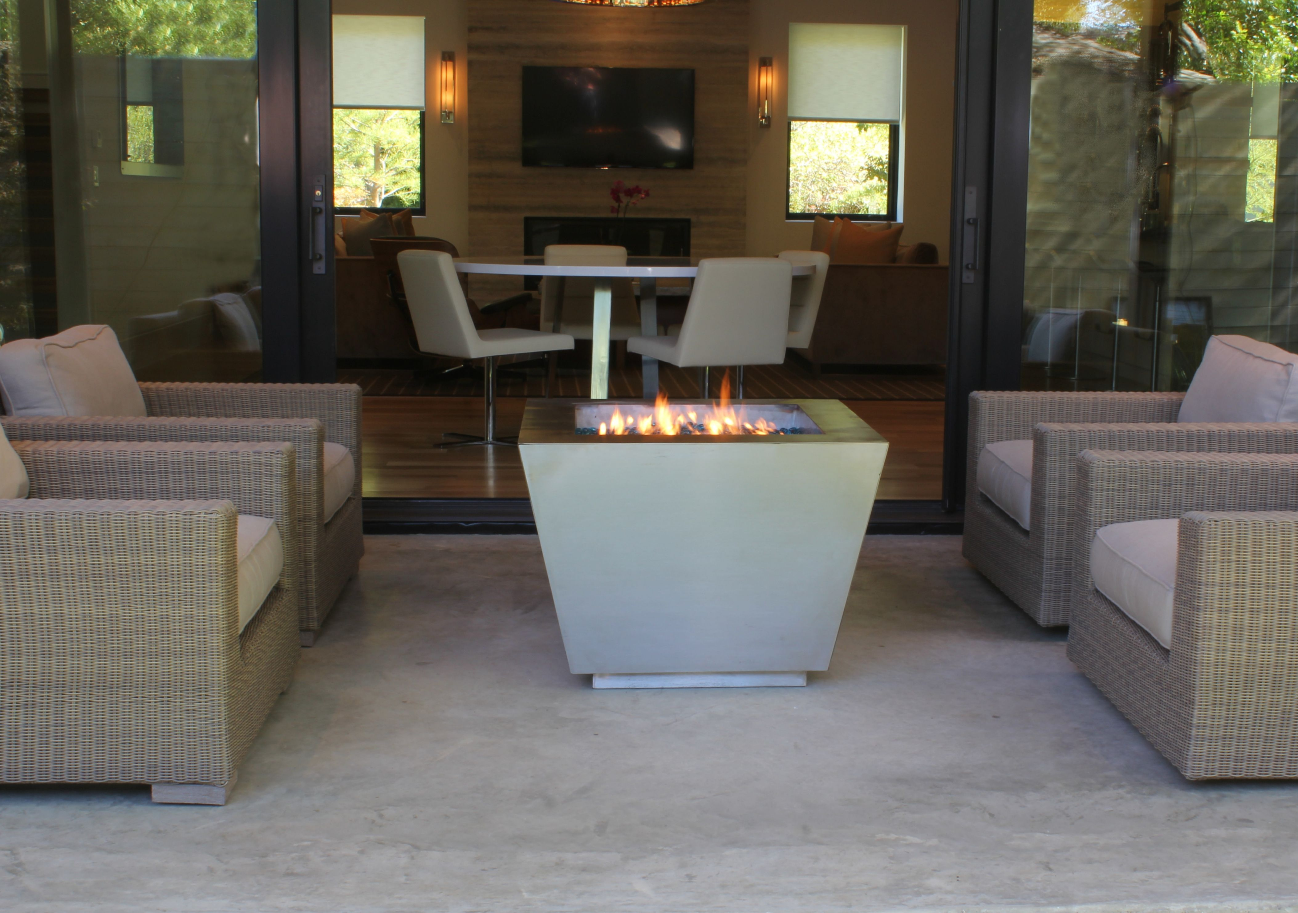 33 pyramid stainless steel fire pit shown as a glass media