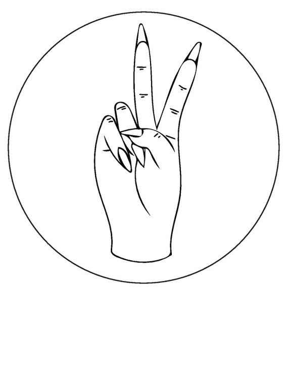 Peace sign // hand embroidery pattern // beginner embroidery pattern // easy embroidery pattern