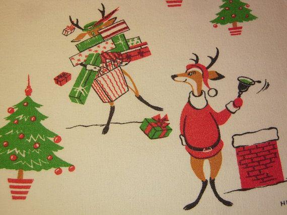 Vintage CHRISTMAS Towel Eames Reindeer Shop & by unclebunkstrunk, $47.99