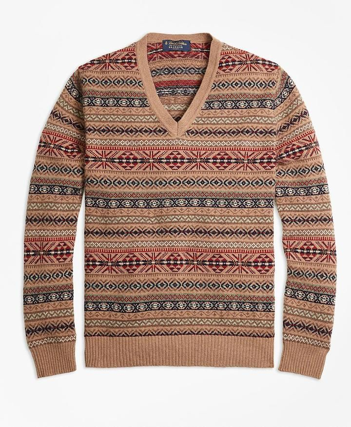 Braemar for Brooks Brothers Fair Isle V-Neck Sweater | Mens V Neck ...