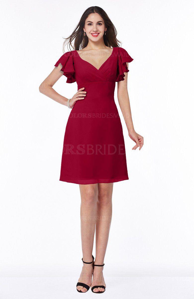 Scooter plain aline short sleeve short ruffles bridesmaid dresses