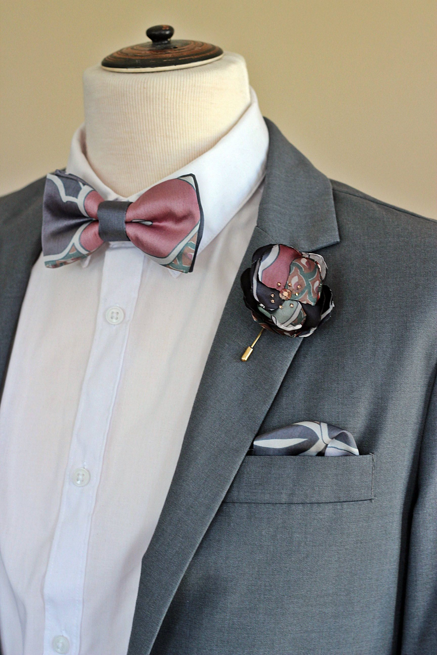 Rose gold gray rose boutonnieres flower lapel pin, flower