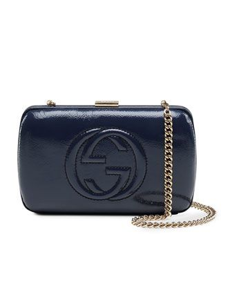Broadway Patent Leather Minaure Clutch Blue By Gucci At Neiman Marcus