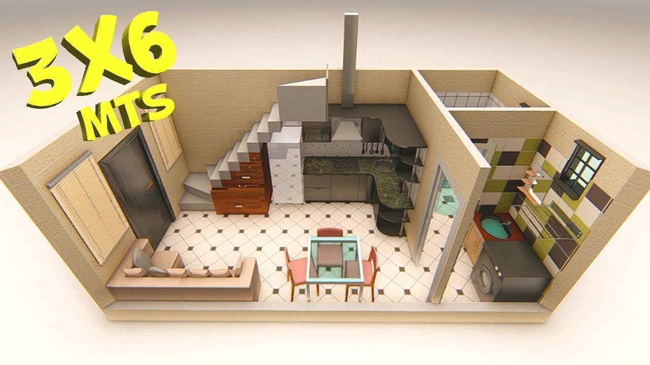 Plano De Casa 3x6 Metros Youtube Casas Para Alquilar Planos De Casas Diseno Casas Pequenas