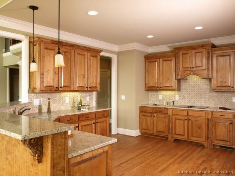 Maple Wood Kitchen Ideas | Tuscan kitchen design, Oak ... on What Color Granite Goes With Honey Maple Cabinets  id=73008